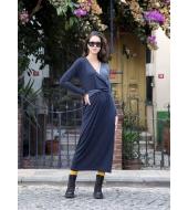 Los Banditos Sinine V-kaelusega ristatud vööga kleit