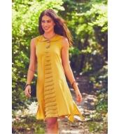 Los Banditos Suurte nööpidega kollane kleit